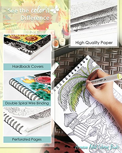 Spiral Bound Anti Stress Adult Coloring Book With 50 Scenery Pages Printed On