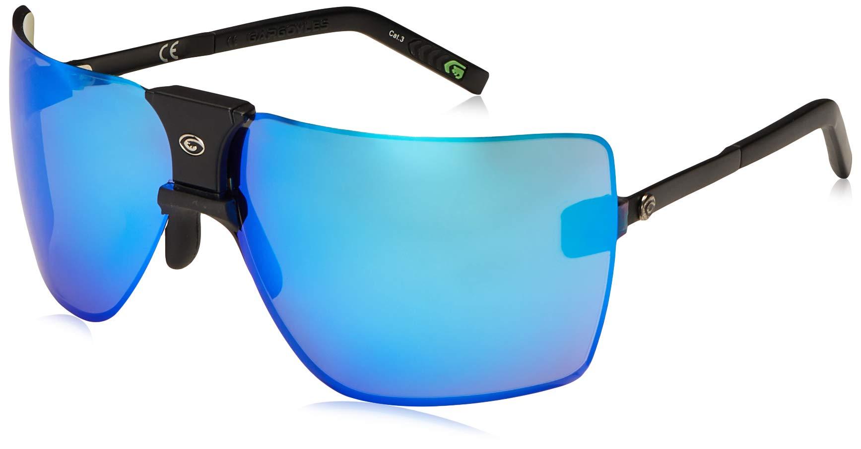 Gargoyles Performance Eyewear Classic Polarized Safety Glasses, Matte Black Frame/Smoke with Blue Mirror Lenses