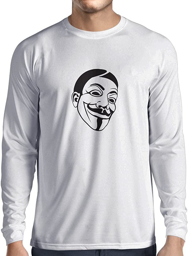 Mens We Are legion Anonymous T Shirt hacking computer hacker Long sleeve top
