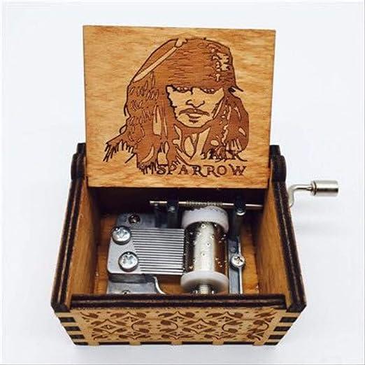 LYXL Caja Musica Niña Caja De Música Caribeña Tallada En Madera Antigua Davy Jones Caja Musical Capitán Jack Cajas Musicales Dropshipping Amarillo: Amazon.es: Hogar