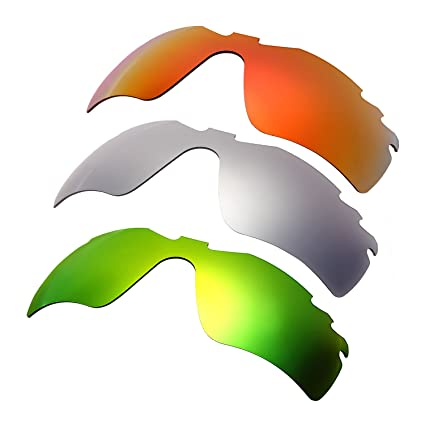 HKUCO Mens Replacement Lenses For Oakley Radar Path-Vented Red/Titanium/Emerald Green Sunglasses DScQuEdK