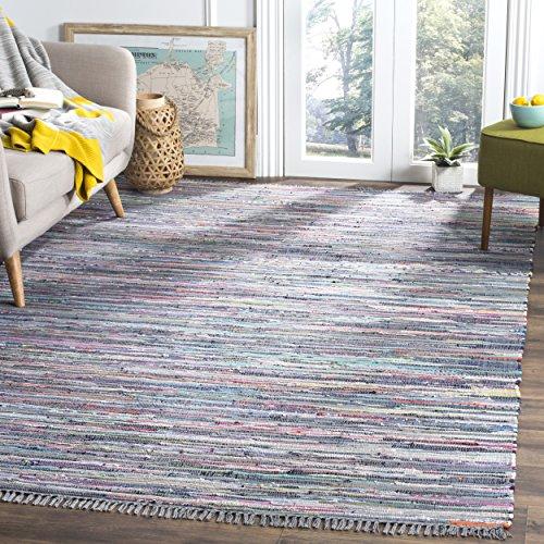 Safavieh Rag Rug Collection RAR121K Hand Woven Aqua and Multi Cotton Area Rug (4' x 6')