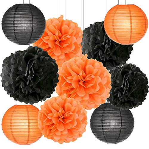 Happy Halloween Party Decorations Kit Paper Lanterns Tissue Paper Pom Poms Black Orange Theme Halloween Series Halloween Decoration Paper Flower -