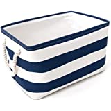 Tosnail Home Essentials Fabric Collapsible Convenient Storage Bin/Basket with Cotton Rope Handle For Office, Bedroom, Closet, Toys, Laundry - Blue Medium