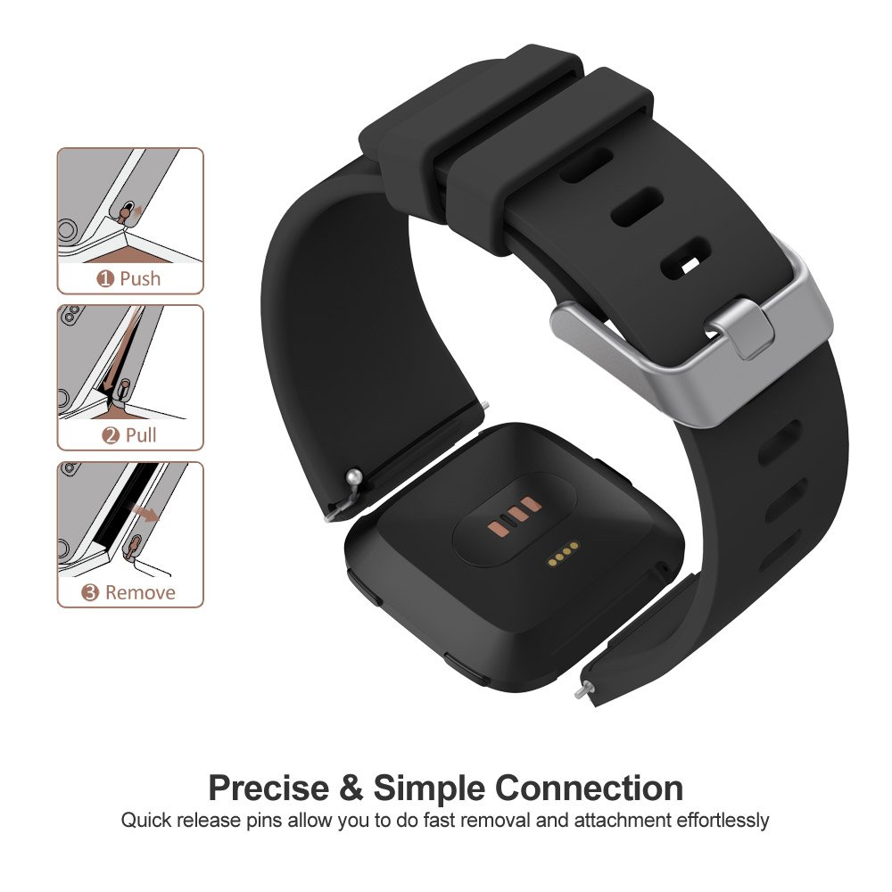 UMTELE Fitbit Versa Bands Silicone Replacement Sport Strap with Metal Buckle for Fitbit Versa