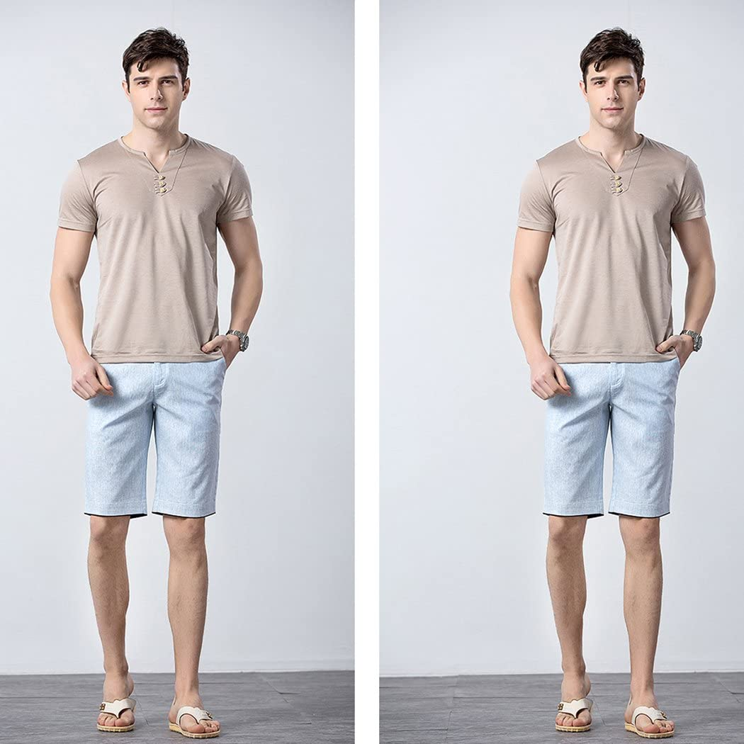 Novembers Chopin Mens Linen Business Shorts Flat-Front Breathable Stretch Chino Short