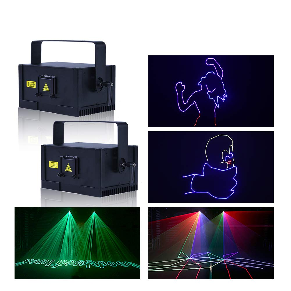 V-Show 1W RGB LED Animation Laser Lights, DMX 512 Laser Scanner Party, 2 Pack Programmable Projector Dj Light, 12 CH, For Disco Party House Stage Laser Xmas Show by V-Show