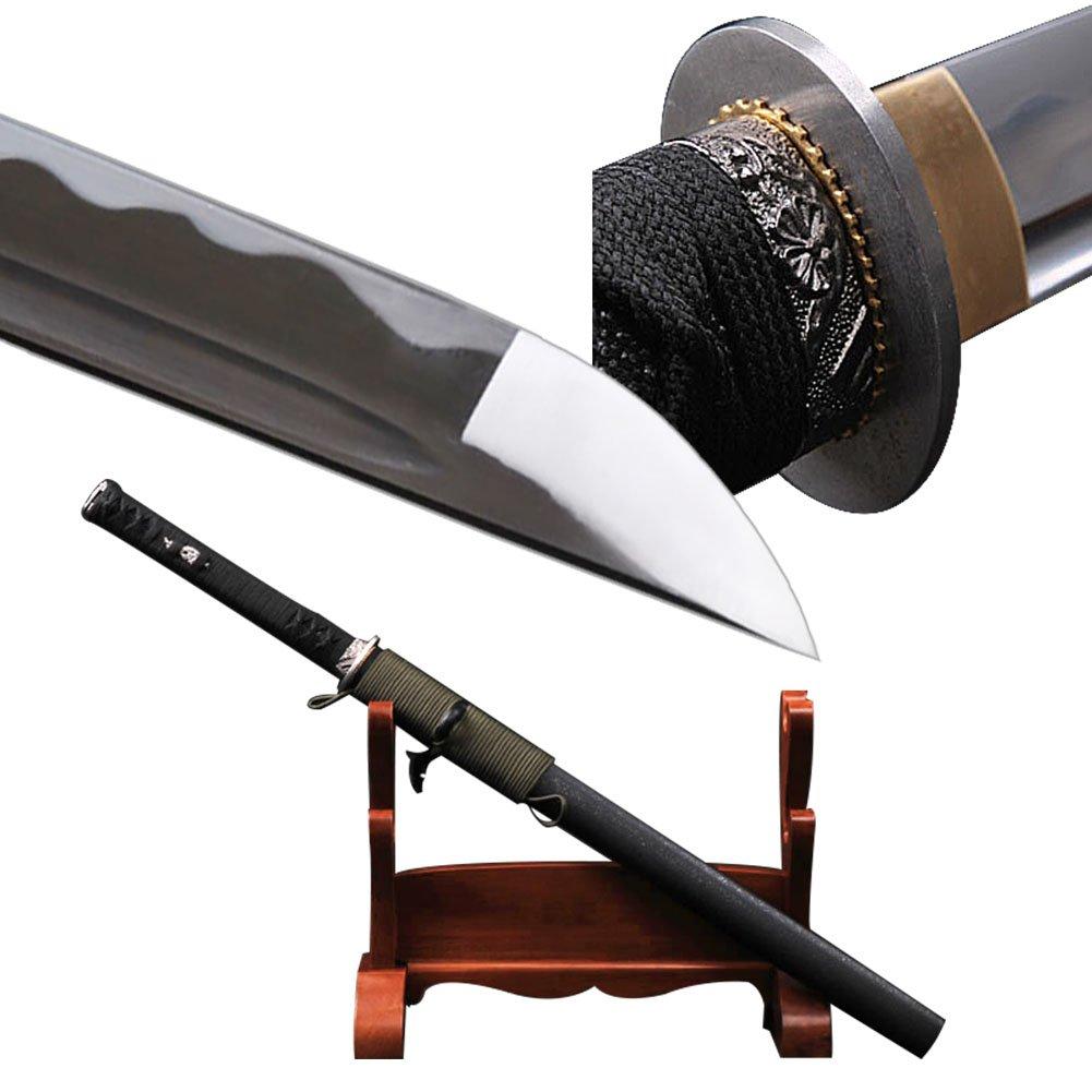 YJ COOL Japanese Samurai Ninja Sword Wakizashi Sharp Full Tang Carbon Steel Shiny Straight Blade by YJ COOL