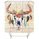 QH 3D Printing Home Decoration Fabric Bull Skull Feathers Flower Tribal Shower Curtain Weights Resistant Waterproof (1)
