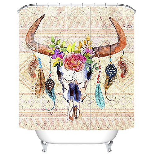QH 3D Printing Home Decoration Fabric Bull Skull Feathers Flower Tribal Shower Curtain Weights Resistant Waterproof (1) by QH