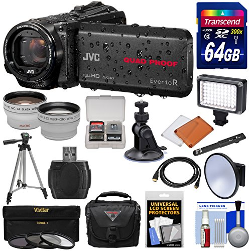 JVC Everio GZ-R440 Quad Proof Full HD Digital Video Camera Camcorder (Black) + 64GB Card + Suction Cup Mount + Case + LED Light + 3 Filters + Tripod + Tele/Wide Lens Kit