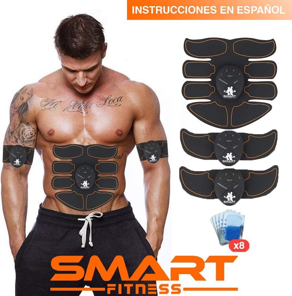【MARCA OFICIAL】Smart Fitness™ Electroestimulador Muscular Abdominales, Estimulación Muscular, Masajeador Eléctrico, Cinturón Adominal, Brazos / Piernas / Glúteos. (Hombres / Mujeres)