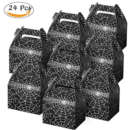 Morinostation 24pcs Halloween Party Gift Favor Candy Boxes - Cobweb Style Night Out Fun Favors Paper Bags (24) -
