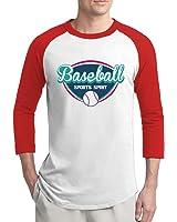 Men Baseball Sports Spirit Logo Baseball Raglan Tee Shirt Red