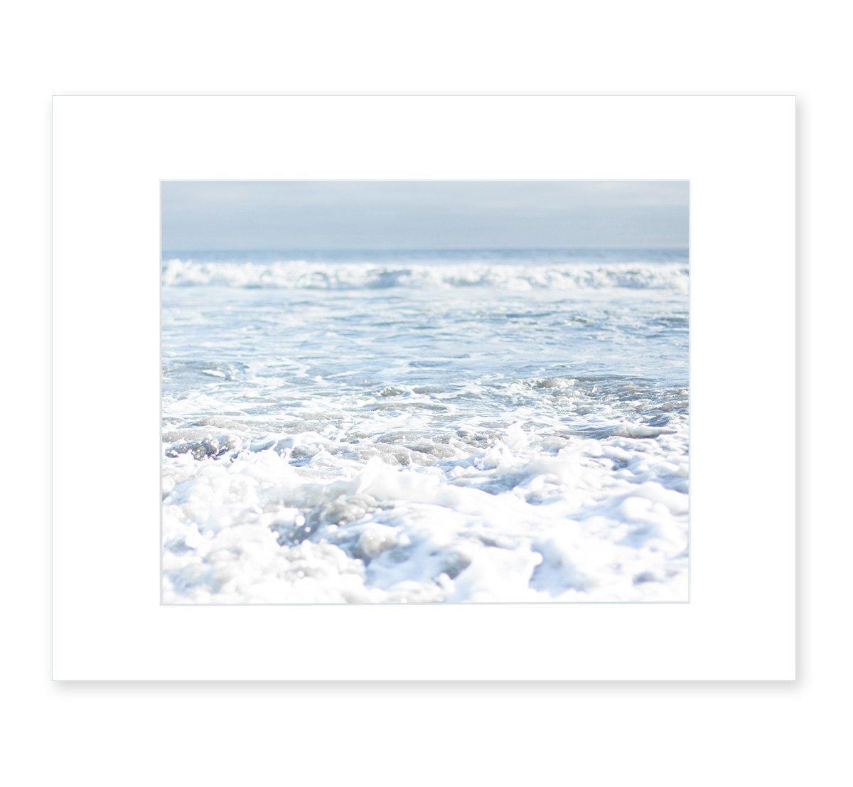 Blue Beach Art, Ocean Waves Coastal Decor, Seascape Wall Art, California Beach House Pictures, 8x10 Matted Photographic Print (fits 11x14 frame), Fresh Surf'
