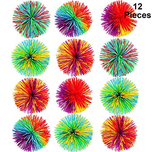 12 Pieces Monkey Stringy Balls Sensory Fidget Stringy Balls Soft Rainbow Pom Bouncy Stress Balls with Storage Bag, Multicolor (2.75 Inch 12 Pieces)