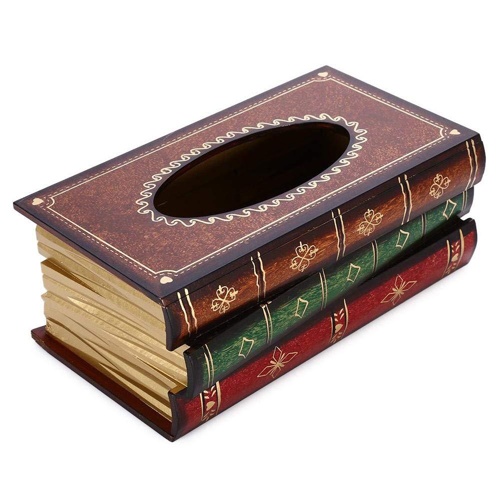 Besteffie Rectangle Bo/îte /à mouchoirs Housse Livre Ancien Motif Vintage Wood WC Bo/îte /à mouchoirs Support Distributeur de Papier d/écoratif Grande Faite /à la Main