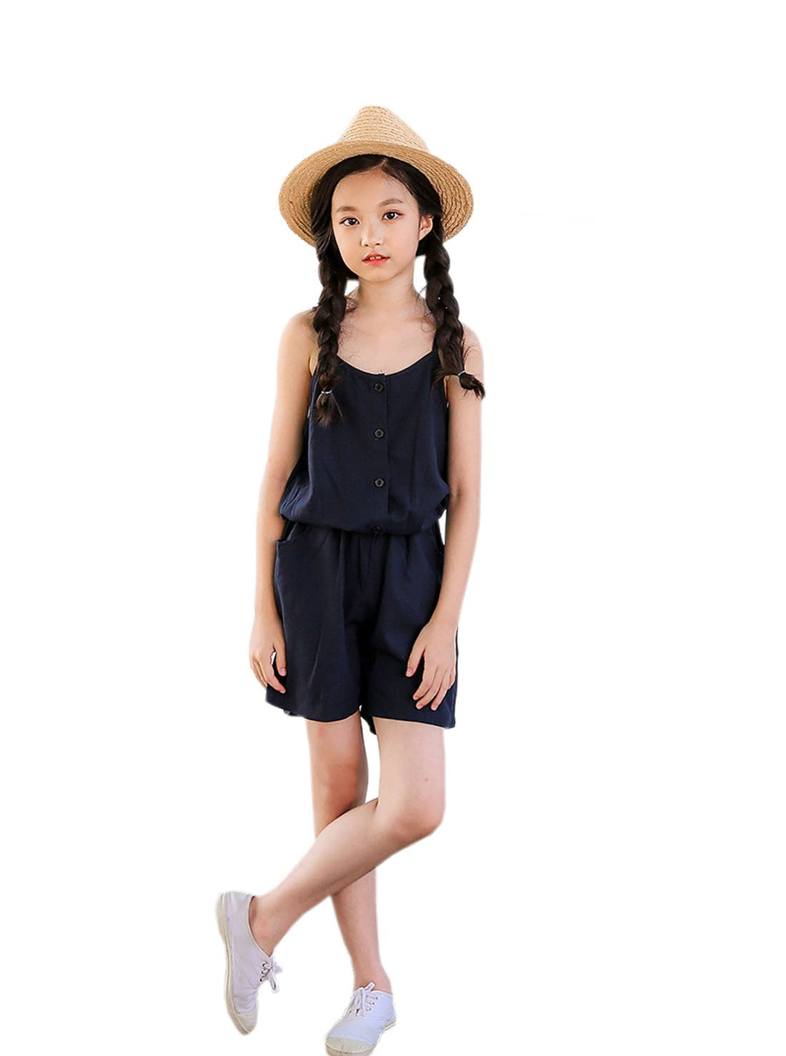YueLian Little Girl's Sleeveless Short Solid Jumpsuit Clothes Summer Outfits (Blue,8-9 Years)