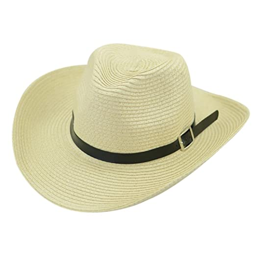 9e3493cc955 Amazon.com  Spbamboo Floppy Foldable Man Unisex Belt Straw Beach Sun Summer  Hat Wide Brim  Clothing