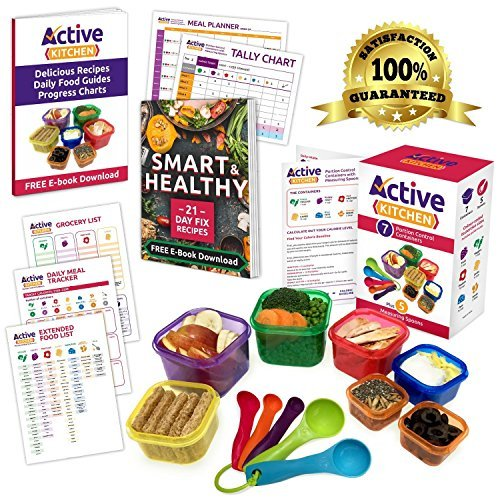 Portion Control Containers 7 Piece Portion Control Containers Kit (COMPLETE GUIDE +...