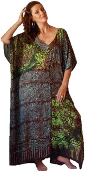 Boho Caftan Lounge Maxi Dress LotusTraders H820 Batik Art Patch One size