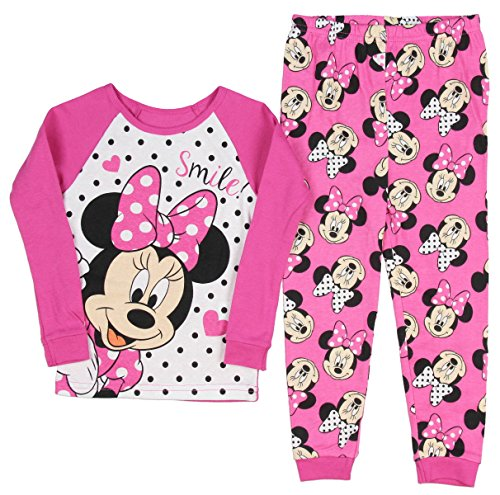 Disney Minnie Mouse Little Girls Long Sleeve Cotton Pajama Set Pink (2t Disney Minnie Mouse)