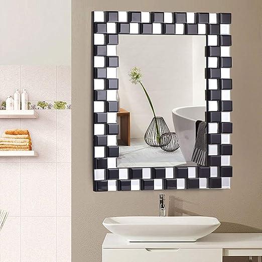 Sliver Vanity Glass Wall Make-up Mirror White 36x24 WATERJOY Large Framed Rectangular Bathroom Mirror