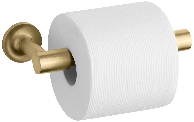 kohler k14377bgd purist pivoting toilet tissue holder vibrant modern brushed gold toilet paper holders amazoncom - Kohler Purist