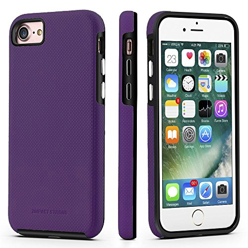 iPhone 7/8 Case, ImpactStrong Dual Guard Protection Shock-Absorbing Scratch-Resistant Protective Cover for Apple iPhone 7 and iPhone 8 - Purple / Black