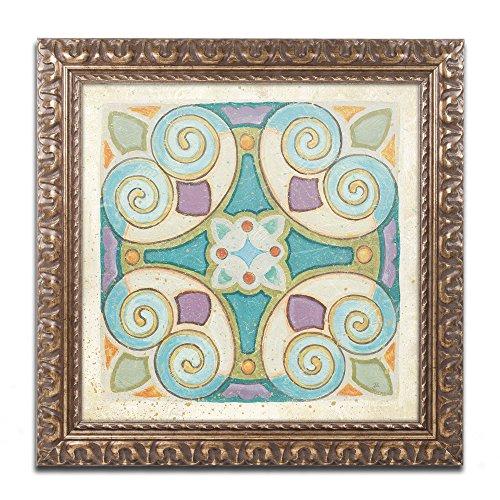 Birds Garden Tile I Artwork by Daphne Brissonnet, 16 by 16-Inch, Gold Ornate Frame