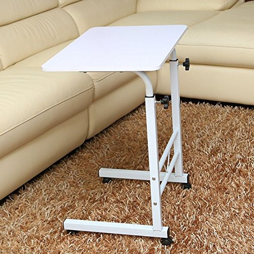 raumeyun Adjustable Height Computer Cart Mobile Laptop Desk Stand Laptop Table On Wheels For Bed And Sofa,Color Woodgrain (white) Review