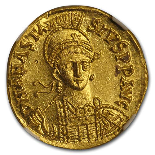 491 IT Byzantine Gold Solidus Emperor Anastasius I (491-518 AD) MS NGC Gold Mint State NGC