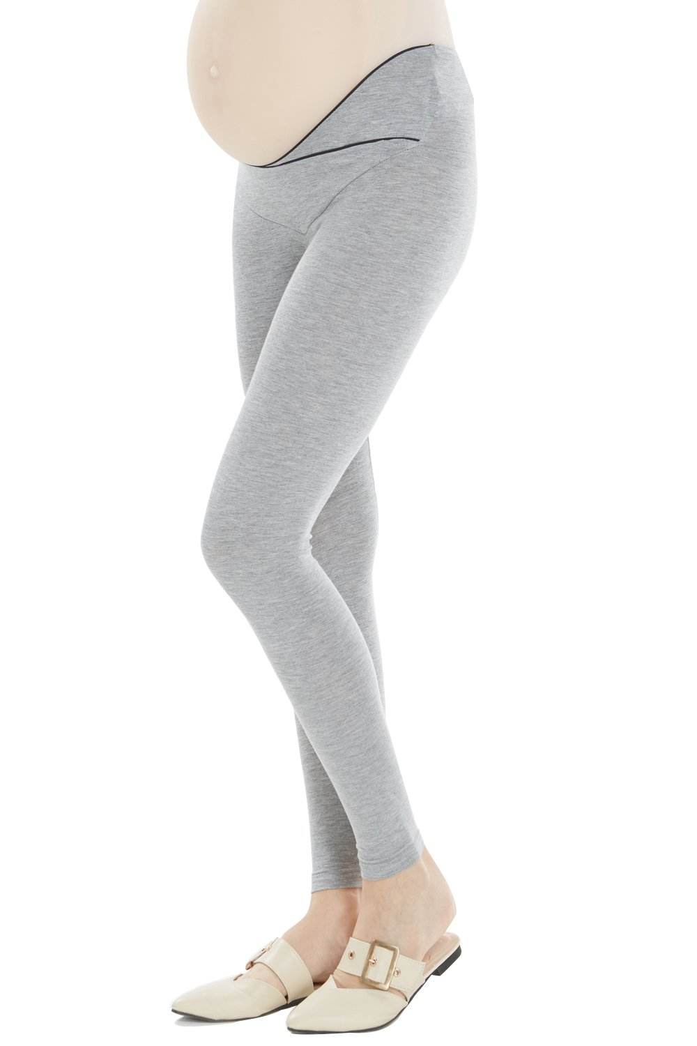 Cozyonme Maternity Pants Leggings Pregnancy Support Jeggings Capris Yoga Tights (Grey, XX-Large) by Cozyonme (Image #2)