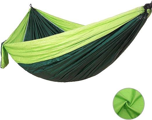 Hamaca doble para jardín, 270 x 140 cm, ideal para acampadas, exteriores, patio, jardín y viajes, Verde oscuro: Amazon.es: Jardín