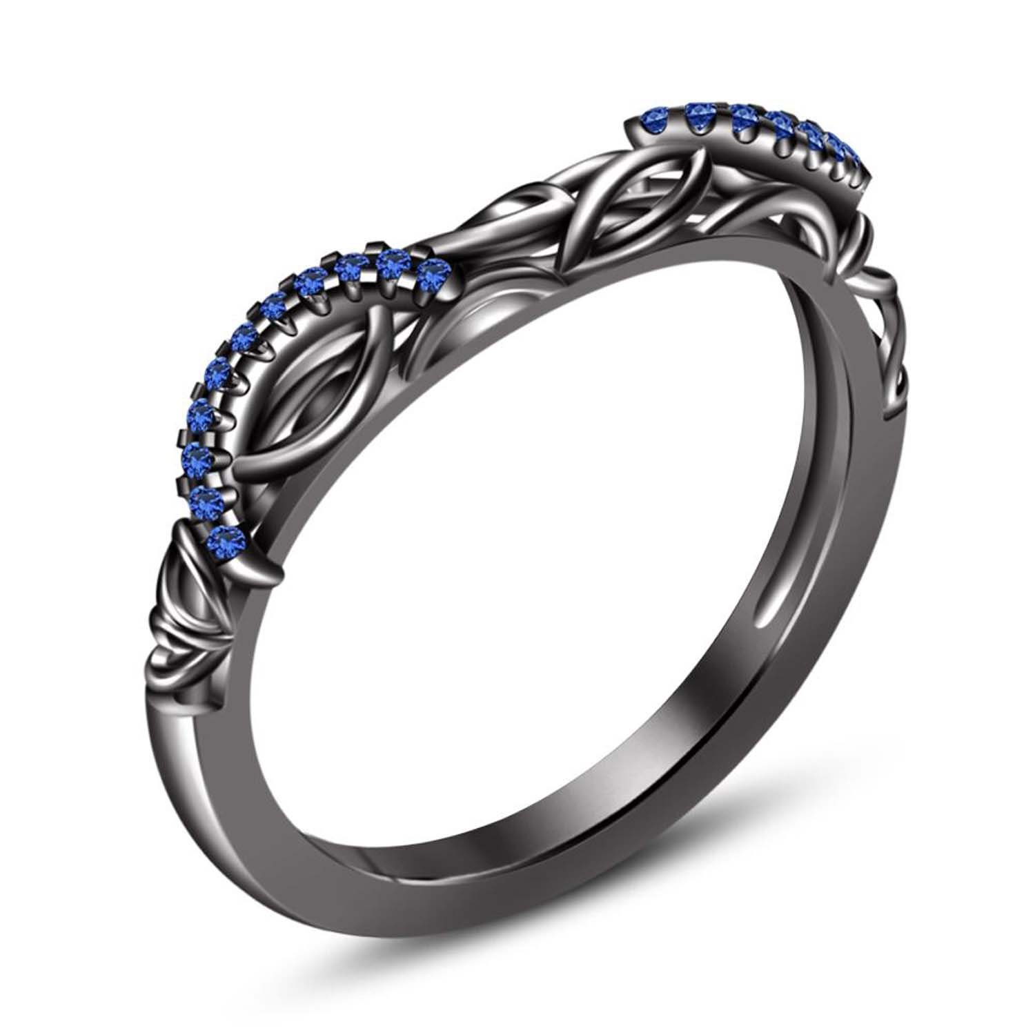 Dream Jewels14k Black Gold Plating Created Blue Sapphire Round