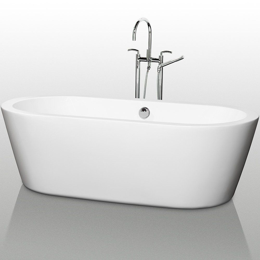 wyndham collection mermaid 71 inch bathtub for bathroom in white with polished chrome drain and overflow trim planters amazoncom - Soaking Tub