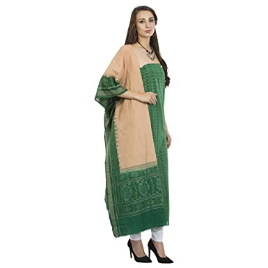 4d9159dbd4 Kadambini Women's Saree Sambalpuri Handwoven Cotton Unstitched Salwar Suit ( Semi-Stitched Fabric_VLK_8, Green, Free Size): Amazon.in: Clothing &  Accessories