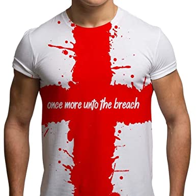 80cd60cdebb1 St Georges Day T Shirts Mens Once More Unto The Breach St George T Shirt  Patriotic English All Over Print Graphic Tees  Amazon.co.uk  Clothing