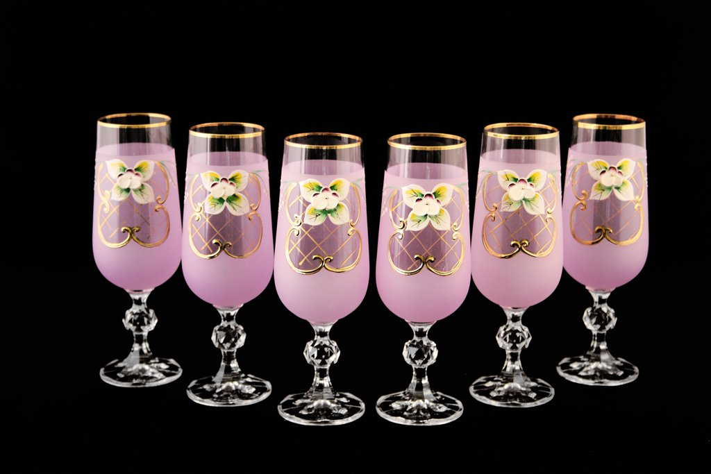 Gold Rim Accent Shabby Pink Drinkware Glass Goblet 1 Set of 6