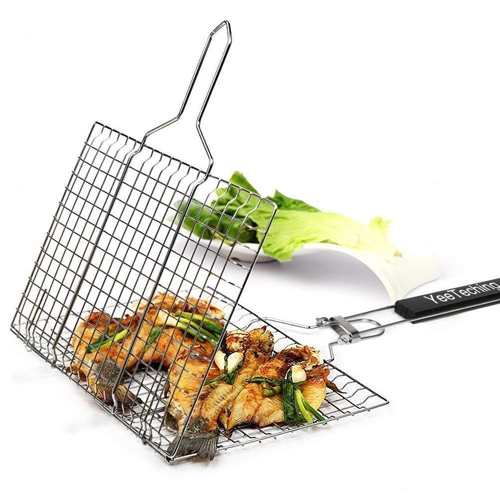 Yeeteching Fish Grilling Basket, Non Stick Portable 430 Grade Stainless Steel with Removable Wooden Handle for Fish, Steak, Meat, Vegetables, Grill Basket for Outdoor BBQs, Kitchen & Camping