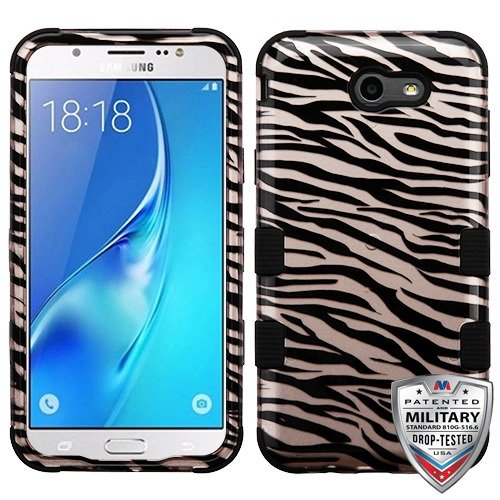 Samsung Galaxy J7 (2017) J727 Case / Galaxy J7 Prime / Galaxy J7 Perx / Galaxy J7 V / Galaxy J7 Sky Pro Case - Willmart (TM) Slim Hybrid Armor Case Protective Shockproof Cover (Zebra Skin Black) Zebra Hard Case Cover