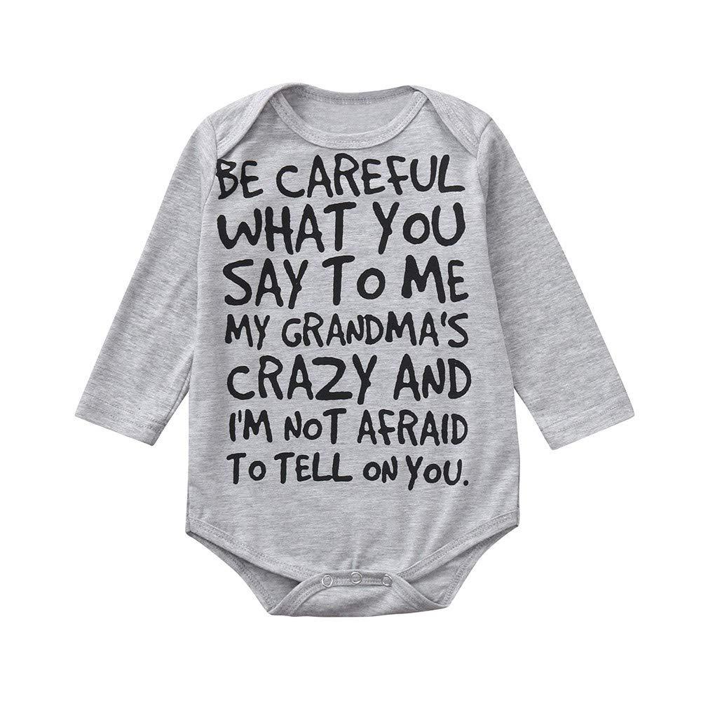Sannysis Cotton Pajamas, Newborn Toddler Baby Girls Boys Letter PrintRomper Jumpsuit Cute CasaulClothes (Gray, 70)