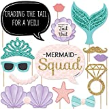 Trading The Tail For A Veil - Mermaid Bachelorette Party or Bridal Shower Photo Booth Props Kit - 20 Count
