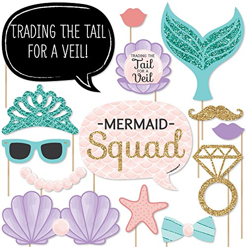 Trading The Tail For A Veil - Mermaid Bachelorette Party or Bridal Shower Photo Booth Props Kit - 20 Count (Mermaid Themed Party Ideas)