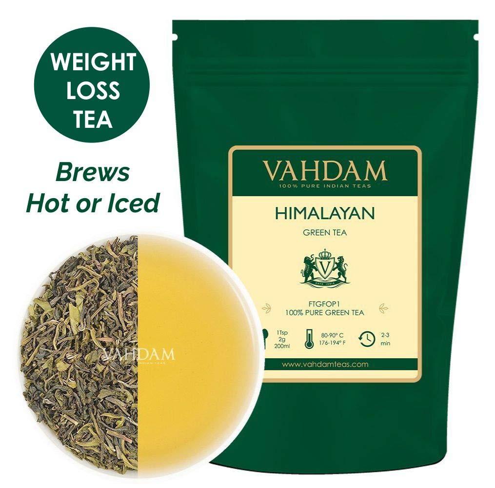 VAHDAM, Green Tea Leaves from Himalayas (50 Cups), 100% Natural Detox Tea, Slimming Tea, Weight Loss Tea, POWERFUL ANTI-OXIDANTS, Brew Hot Tea, Iced Tea or Kombucha Tea, Green Tea Loose Leaf, 3.53oz
