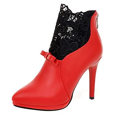 UH Damen Spitze Stiefeletten und Stiletto Ankle Stiefel mit Spitze und Stiefeletten df2749