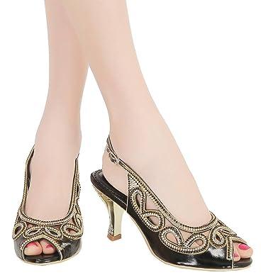 ddcf4b4a4e52 YooPrettyz Peep Toe Bridal Kitten Heel Cutout Slingback Club Party Evening  Dress Pump Low Heel Black