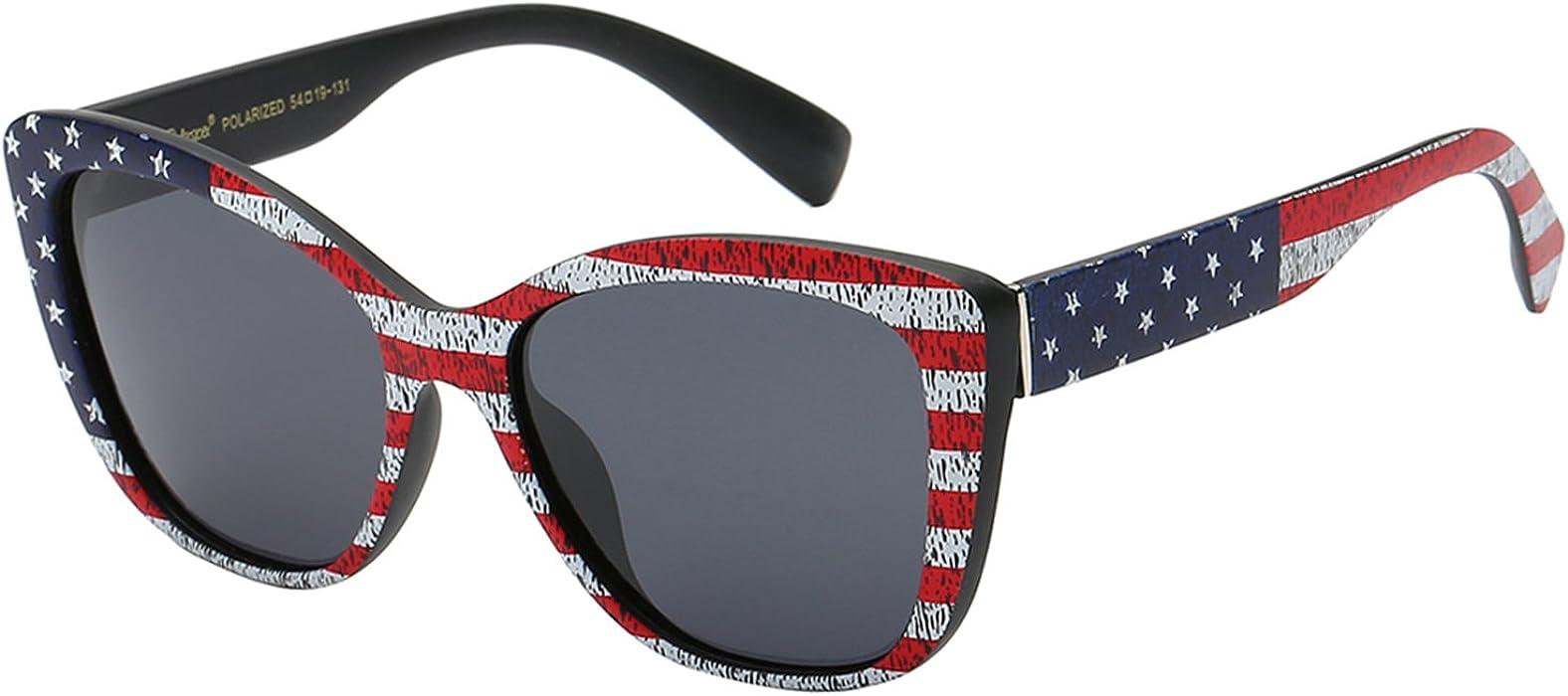 a3b5a35875 Polarspex Polarized Women s Vintage Square Jackie O Cat Eye Fashion  Sunglasses (American Flag