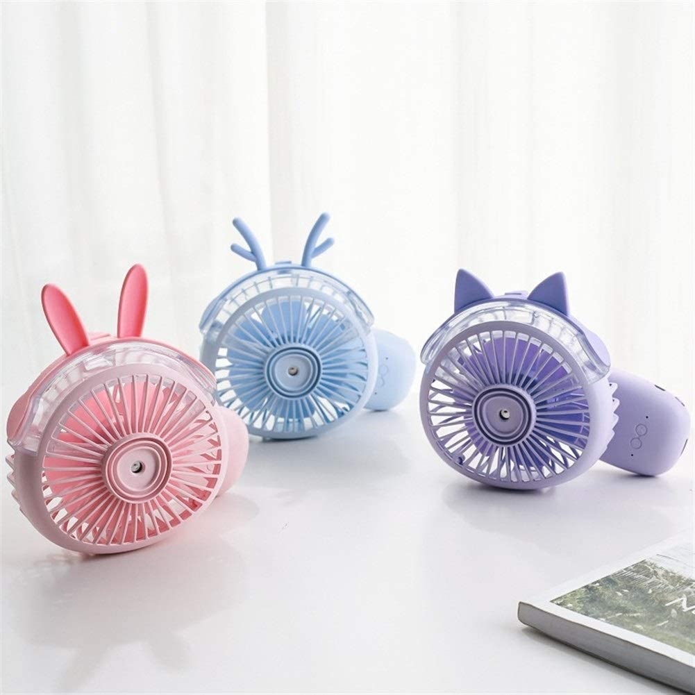 Outdoor Travel Color : Pink Shengjuanfeng USB Fans Cartoon Fan Handheld Desktop Fan Outdoor Portable Mini Air Cooler for Home Office