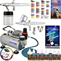 Complete Professional Master Airbrush Multi-Purpose Airbrushing System with 2 Master Airbrushes, U.S. Art Supply Primary Colors Airbrush Paint Kit (6 Colors)and a Color Wheel - Airbrush Models: G22 Gravity Feed, S68 Siphon Feed and the TC-20 Professional